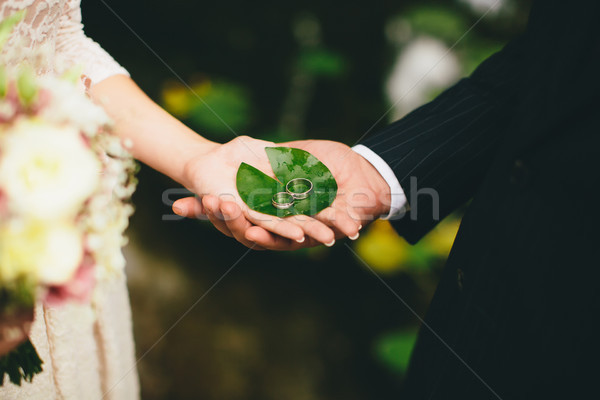 Nowożeńcy utrzymać obrączki ręce zielony liść ślub Zdjęcia stock © boggy