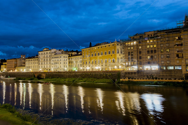 Night view at Arno river in Florence, Italy Stock photo © boggy
