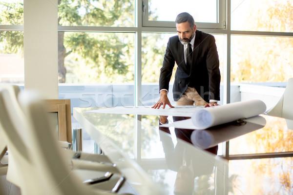 красивый бизнесмен современных служба документы Сток-фото © boggy