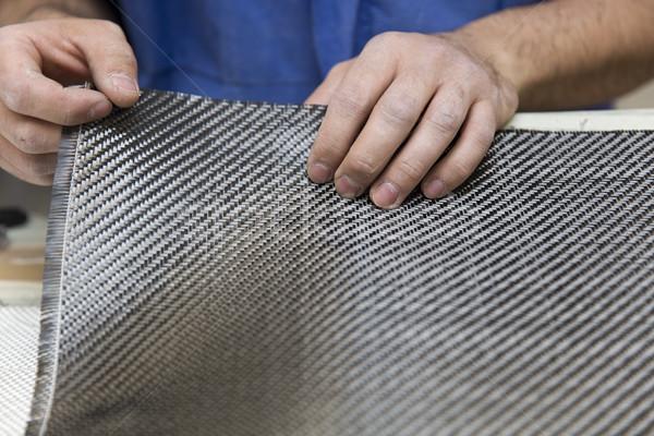 Fibra de carbono oficina pormenor trabalhando tecido Foto stock © boggy