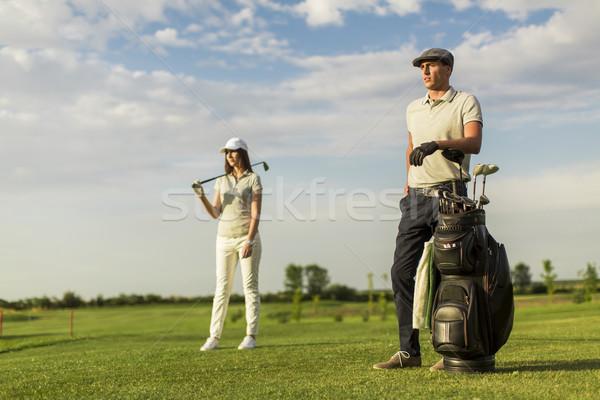 гольф корзины трава пару спортивных Сток-фото © boggy