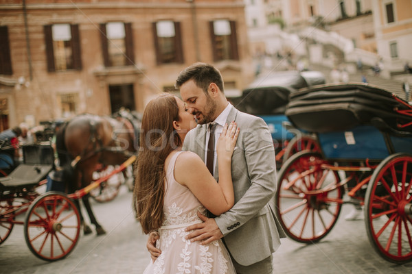 Genç düğün çift İspanyolca adımlar seven Stok fotoğraf © boggy
