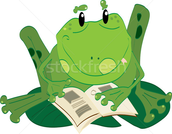 Frog reading Stock photo © boggy