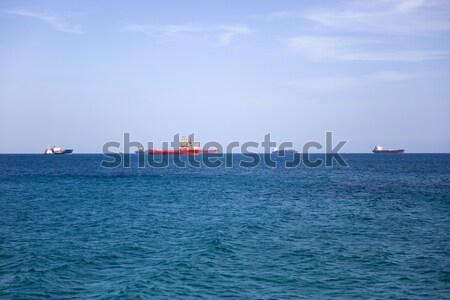 Stockfoto: Vracht · schepen · horizon · Blauw · zee · water