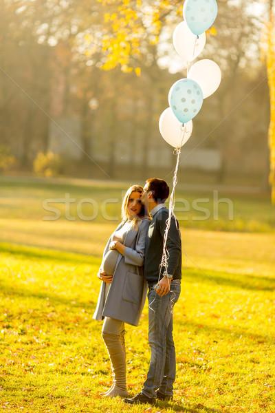 Stockfoto: Gelukkig · paar · ballonnen · najaar · park · jonge
