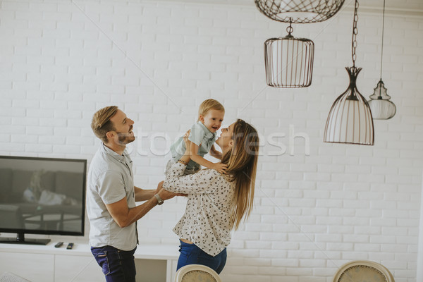 Stock foto: Jungen · glückliche · Familie · Zimmer · glücklich · home