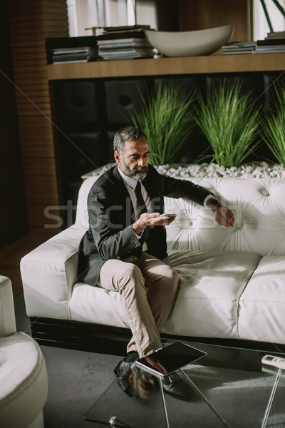 Middle-aged businessman using mobile phone in modern office on s Stock photo © boggy