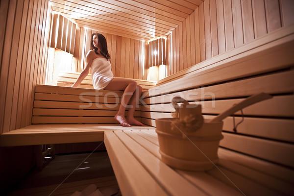 Kız sauna kadın kadın vücut arka plan Stok fotoğraf © boggy