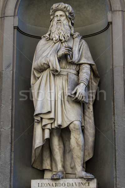 Leonardo da Vinci statue in Florence Stock photo © boggy