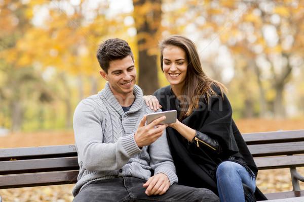 Fiatal pér boldogan néz valami okostelefon ősz Stock fotó © boggy