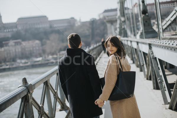 愛する カップル チェーン 橋 ブダペスト ハンガリー ストックフォト © boggy