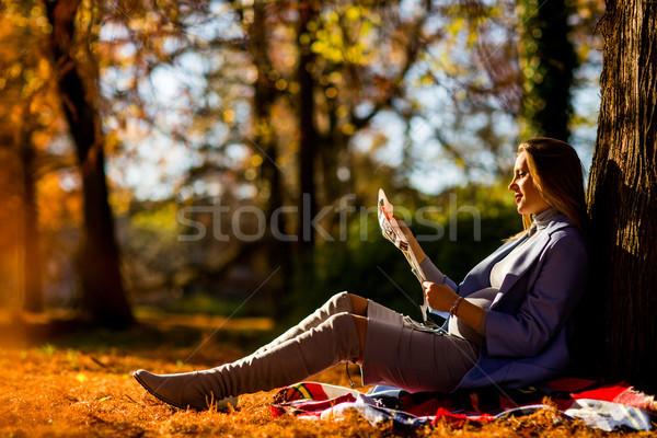 Foto d'archivio: Donna · incinta · seduta · autunno · albero · felice · incinta