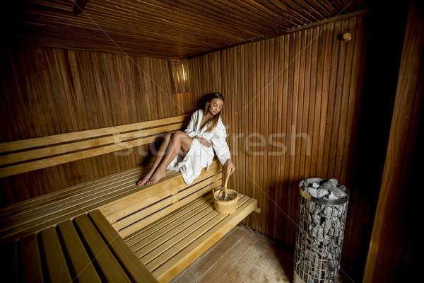 Fiatal nő megnyugtató szauna csinos nő egészség Stock fotó © boggy