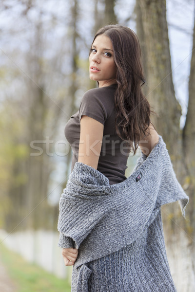 Young woman at autumn park Stock photo © boggy