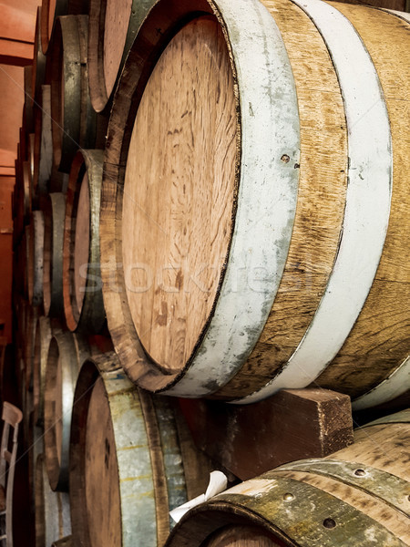 Stock photo: Wine barrels in the winerry