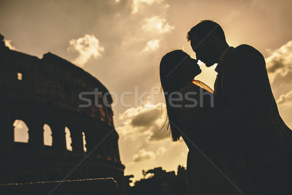 любви Колизей Рим закат женщину Сток-фото © boggy