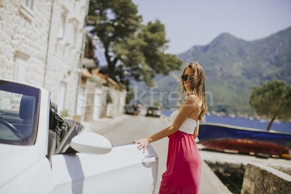 Bella bianco cabriolet auto occhiali da sole Foto d'archivio © boggy