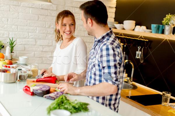 楽しい 現代 キッチン 幸せ ストックフォト © boggy