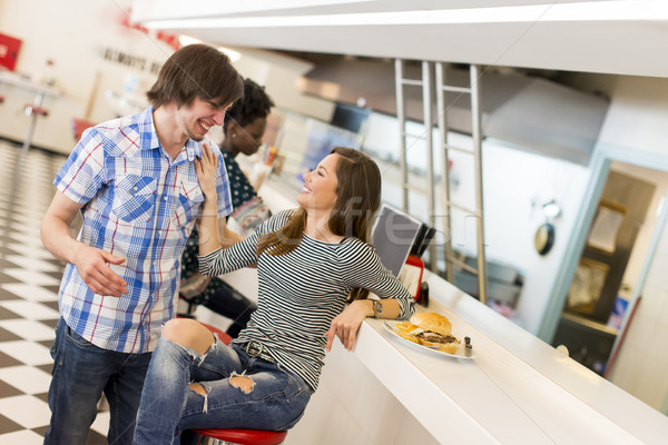 Loving couple in diner Stock photo © boggy