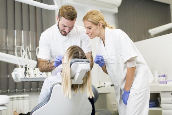 Dentales tratamiento feliz médicos Foto stock © boggy