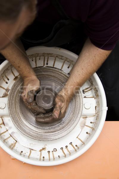 Artista argilla ceramica filare ruota top Foto d'archivio © boggy