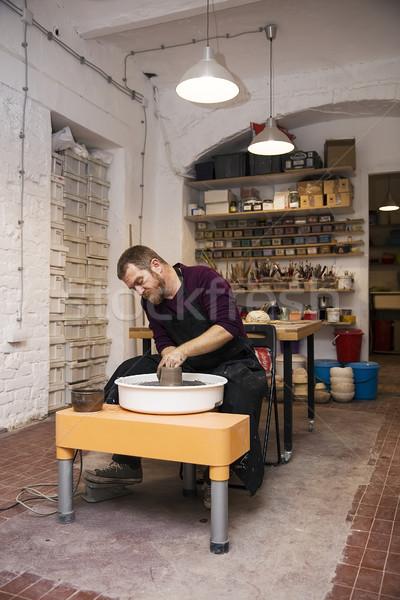 Foto stock: Masculino · artista · argila · cerâmica · girar · roda
