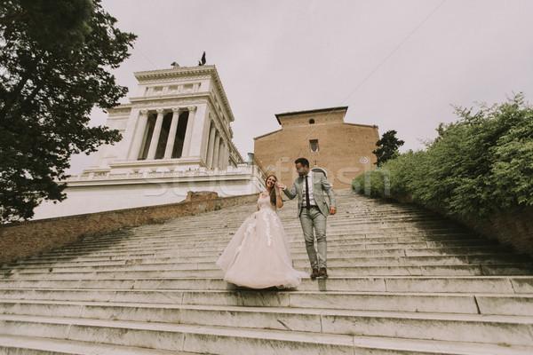 Esküvő pár Róma Olaszország lépcsősor nő Stock fotó © boggy