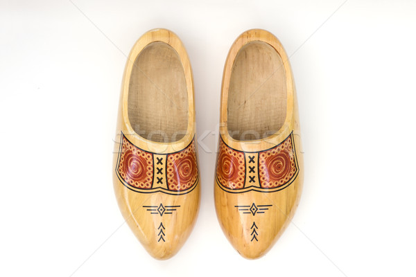 Dutch wooden clogs isolated on the white background Stock photo © boggy