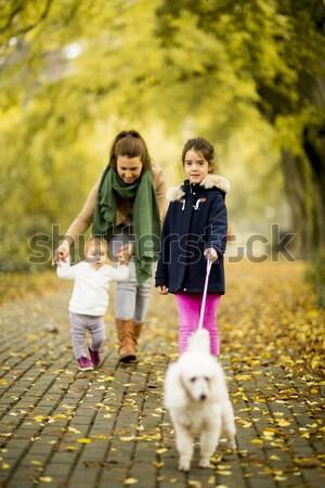 Matka dwa dziewcząt spaceru psa jesienią Zdjęcia stock © boggy