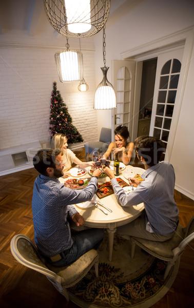 Amigos Navidad año nuevo fiesta amor Foto stock © boggy