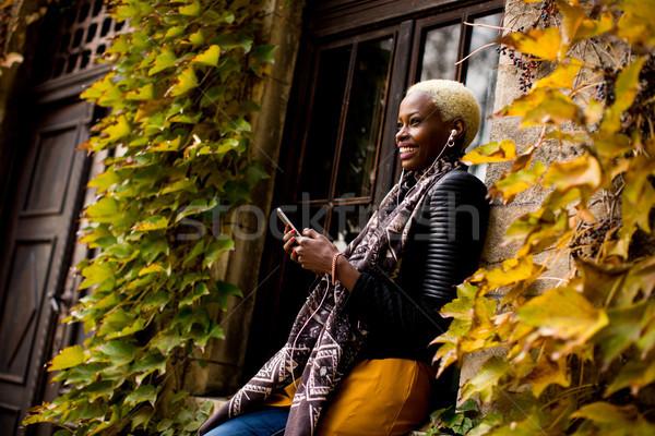 African american woman autdoor Stock photo © boggy