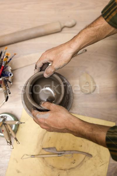 Felső kilátás készít cserépedények műhely kéz Stock fotó © boggy