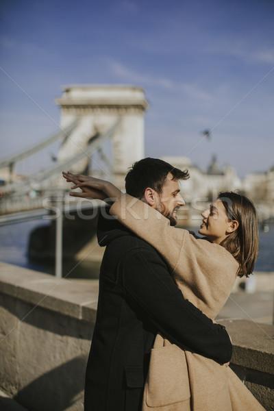 Pareja amor magnífico vista Budapest Foto stock © boggy