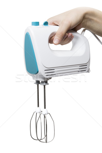 Electric food mixer in hand on white background Stock photo © boggy