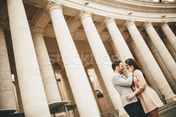Foto stock: Amoroso · casal · praça · vaticano · mulher · homem