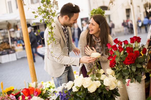 любящий пару роз Рим Италия женщину Сток-фото © boggy