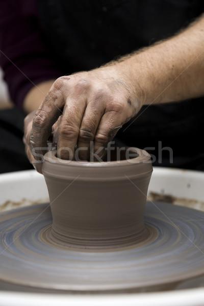 Künstler Ton Keramik Spin Rad Stock foto © boggy