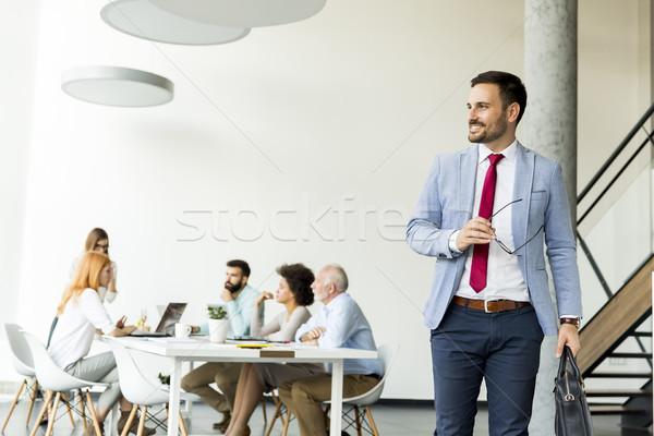 小さな ビジネスマン 葉 会議 その他 人 ストックフォト © boggy