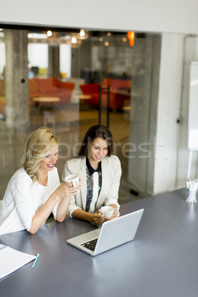 Two young women working on lap top in the office Stock photo © boggy