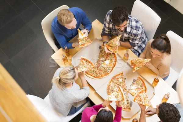 グループ 若者 食べ ピザ 飲料 サイダー ストックフォト © boggy