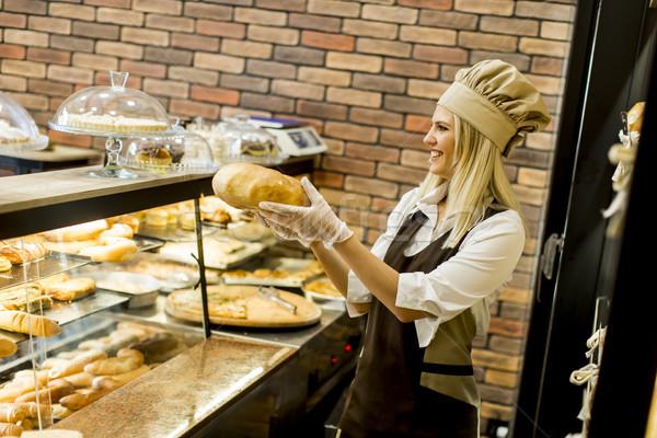 свежие хлеб Полки Бейкер магазин Сток-фото © boggy
