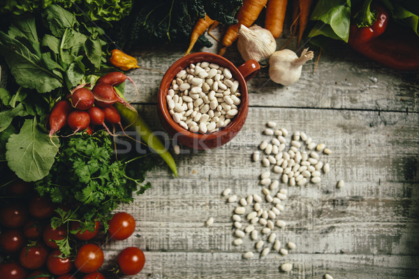 Vers voedsel tabel voedsel achtergrond groep Stockfoto © boggy