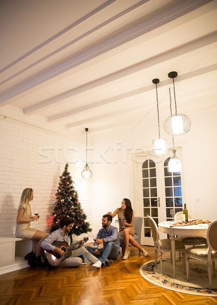 Young people celebrating Christmas and New Year by fir-tree at h Stock photo © boggy