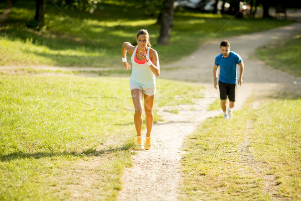 Młodych ludzi jogging charakter kobieta Zdjęcia stock © boggy