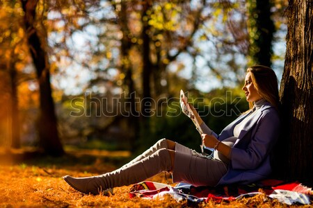Foto d'archivio: Donna · incinta · seduta · albero · autunno · parco · lettura