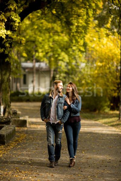 Kochający para jesienią parku młodych chodzić Zdjęcia stock © boggy