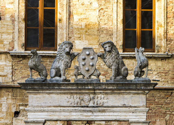 Griffin and Lion Well at Montepulciano, Italy Stock photo © boggy