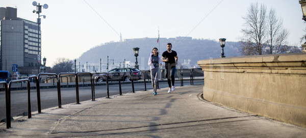 Young couple running in the morning Stock photo © boggy