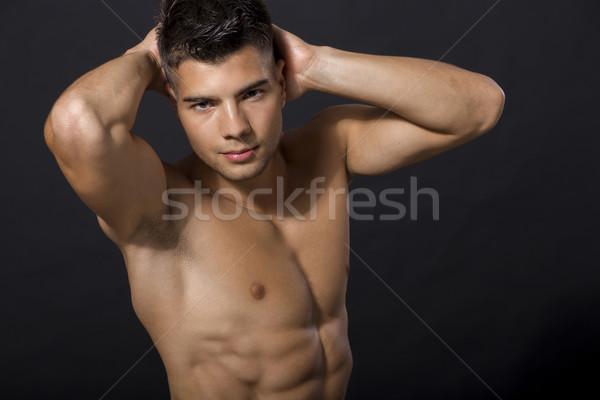 Moço corpo saúde homens exercer pele Foto stock © boggy