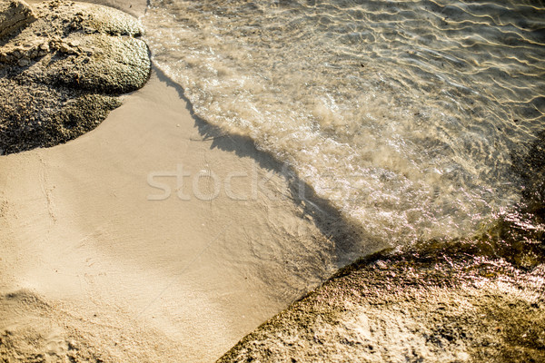 Soft wave of sea on sandy beach Stock photo © boggy